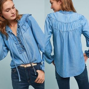 Anthropologie | Maeve Chambray Ruffle Blouse S